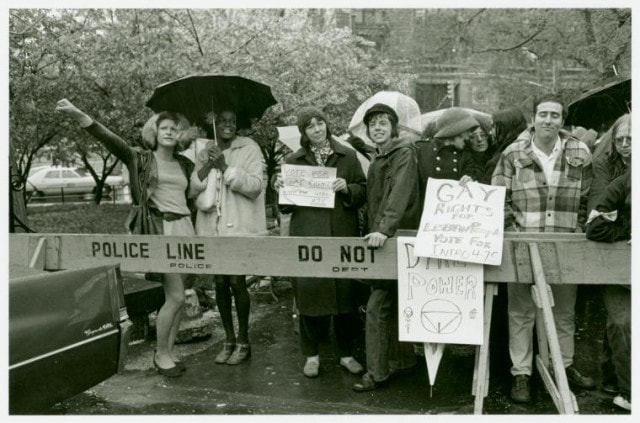 Sylvia Rivera and Marsha P Johnson protesting for gay rights